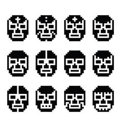 Lucha libre luchador pixelated mexican mask vector