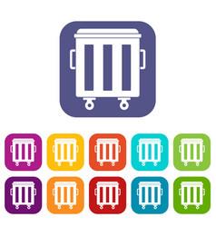 Metal trashcan icons set vector