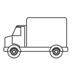 Monochrome silhouette of truck with wagon vector
