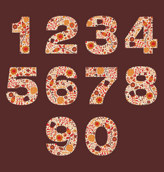 Number floral warm autumn decorative elements vector
