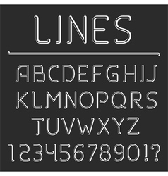 Retro line alphabet and numbers vector