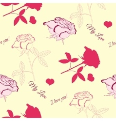 Seamless pattern with pink rose-6 vector image vector image