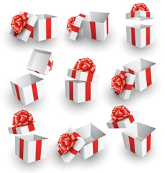 Set Collection of White Celebration Gift Boxes vector image vector image