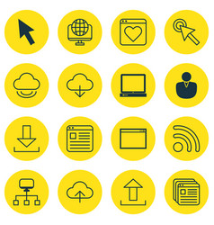 Set of 16 internet icons includes followed vector