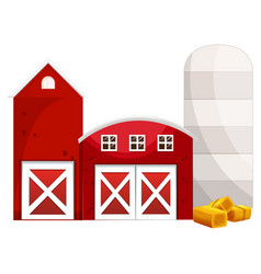 silo and two red buildings vector image