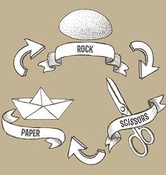 Sketch rock scissors paper poster vector