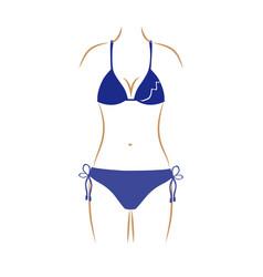 Thin contour of woman in bikini in dark blue color vector