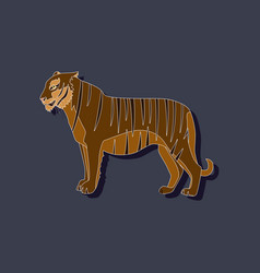 tiger paper sticker on stylish background vector image vector image