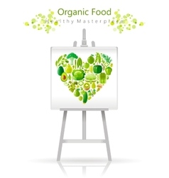 Vegetarian heart on canvas and easel green lime vector image vector image
