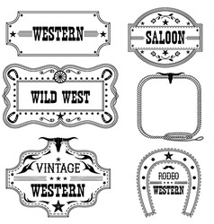 Western vintage labels isolated on white for vector image vector image