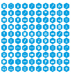 100 creative idea icons set blue vector