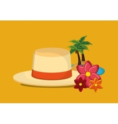 Palm tree with vacation travel icons image vector