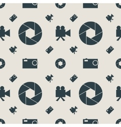 Photo and video camera flat icons seamless pattern vector