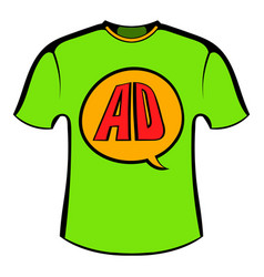 Green shirt with ad letters icon cartoon vector