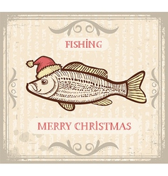 Christmas image of Fishing with fish in Santa hat vector image