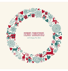 Merry christmas elements decoration circle shape vector