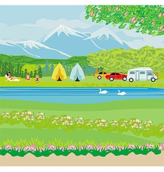 Camping site in the morning sun vector