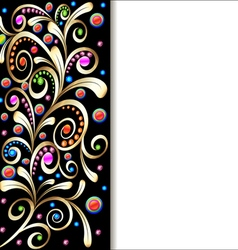 Background with ornament with swirls of gold vector