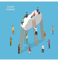 Cloud storage isometric concept vector