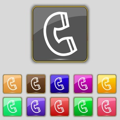 Handset icon sign set with eleven colored buttons vector