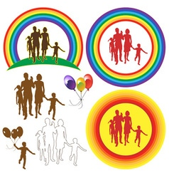 Family rainbow sun balloons vector