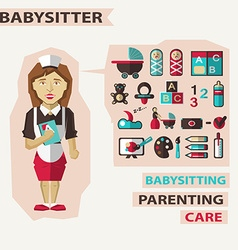Profession of people flat infographic babysitter vector