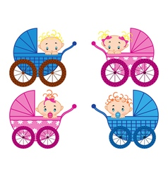 Four strollers with baby-boys and baby-girls vector