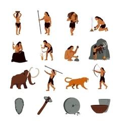 Prehistoric stone age caveman icons vector
