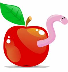 apple with worm vector image vector image