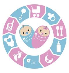 Baby shower cartoon design vector