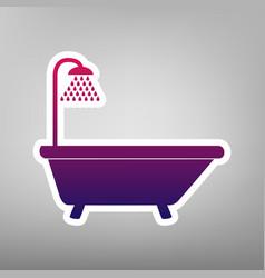 Bathtub sign purple gradient icon on vector