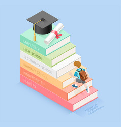Books step education timeline vector