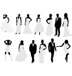 brides and grooms vs vector image