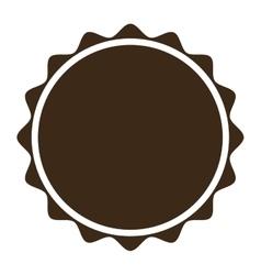 Brown circular badge icon vector