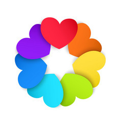 Circle of colored paper hearts vector