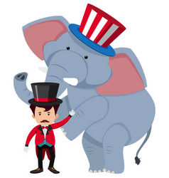 Circus trainer and wild elephant vector