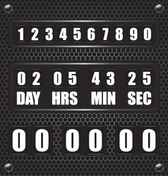 Countdown timer on octagon metal background vector