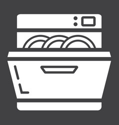 Dishwasher solid icon kitchen and appliance vector