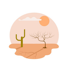 Drought desert isolated icon vector