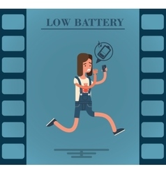 Flat character of a girl with low battery vector image vector image