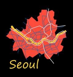 Flat map of seoul with borders of the regions vector