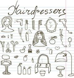 Hairdresser equipment doodles set Hand-drawn vector image