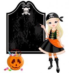 halloween pirate girl pointing vector image