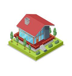 house landscape design isometric 3d icon vector image