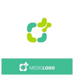 Isolated green and turquoise medical logo vector
