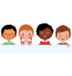 Kids and banner vector image vector image