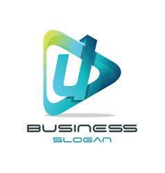 letter u media logo vector image vector image
