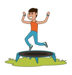 man jumping on trampoline cartoon vector image vector image