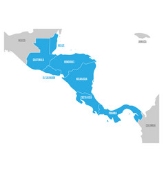 map of central america region with blue vector image vector image
