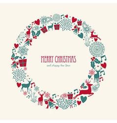 Merry christmas elements decoration circle shape vector